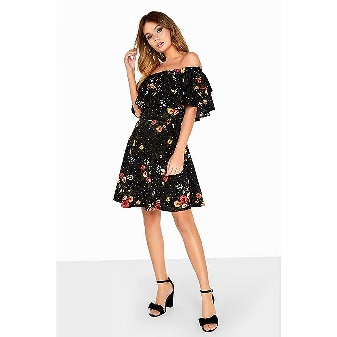 cfb05ec8389 Fleur 34 Femme Motif Bardot Film Robe On Girls noir Style qw1x4ZCOR
