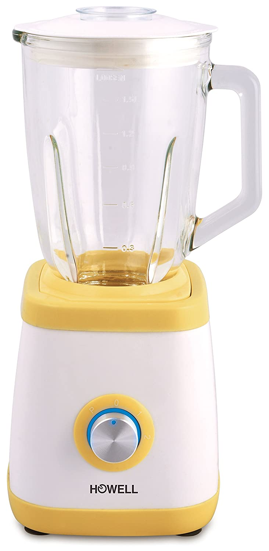 Howell HO.FM6011 Frullatore Professionale con Bicchiere in Vetro, Bianco/Giallo Omnia2007