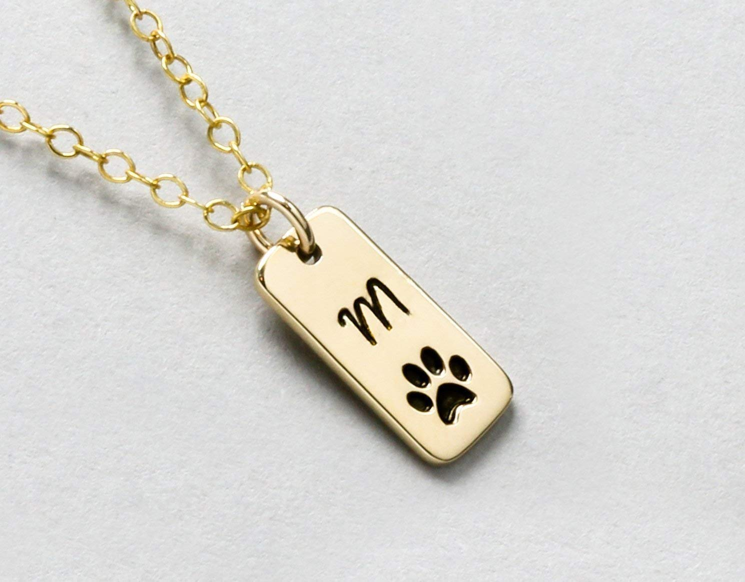 c08f74daf Amazon.com: Personalized Dog Paw Print Initial Necklace or Loss of Pet  Memorial Gift, Dog Walker Gift, Furbaby Necklace, Cat or Dog Pawprint  Jewelry: ...