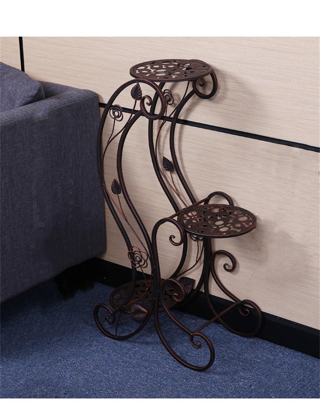 LB huajia ZHANWEI Europäische - Stil Blumenbeet Schlafzimmer Wohnzimmer Mehrstöckige Eisen Blumentöpfe Balkon Blumenregale (Farbe : Messing)
