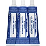 Dr. Bronner's - All-One Toothpaste (Peppermint, 5 ounce, 3-Pack) - 70% Organic Ingredients, Natural and Effective, Fluoride-Free, SLS-Free, Helps Freshen Breath, Reduce Plaque, Whiten Teeth, Vegan