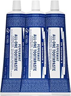product image for Dr. Bronner's - All-One Toothpaste (Peppermint, 5 ounce, 3-Pack) - 70% Organic Ingredients, Natural and Effective, Fluoride-Free, SLS-Free, Helps Freshen Breath, Reduce Plaque, Whiten Teeth, Vegan