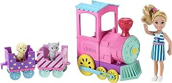 Barbie Famille Mini Poupée Chelsea Et Son Train Des Animaux Multicolore Avec Deux Wagons Et Deux Figurines De Chien Et Chat Jouet Pour Enfant Frl86