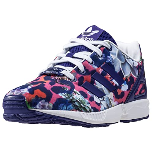 adidas Children Girls Originals Zx Flux Trainers Purple Lace Fastening Torsion