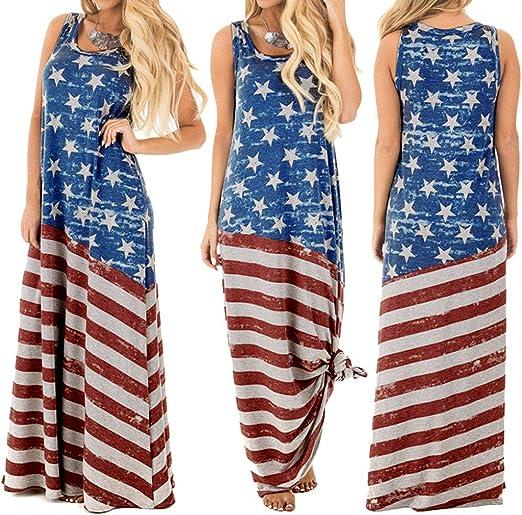 Zlolia Vestido Maxi con Estampado de la Bandera de Estados Unidos ...