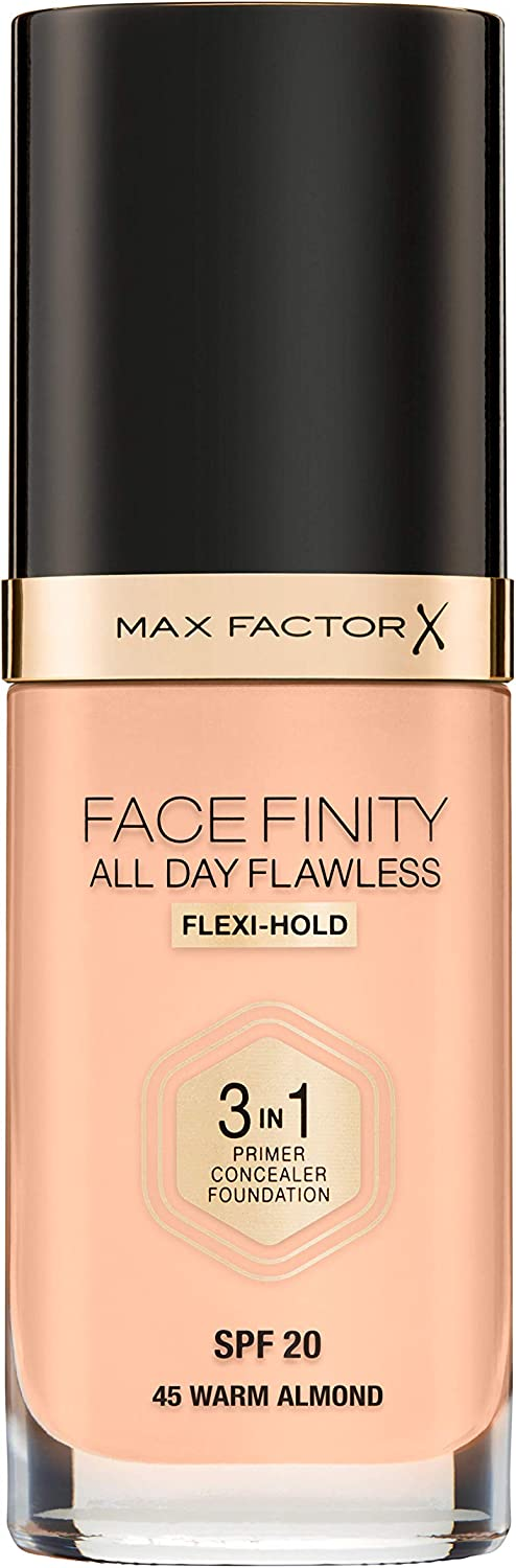 Max Factor Facefinity All Day Flawless 3 In 1 Foundation SPF 20, No. 45 Warm Almond