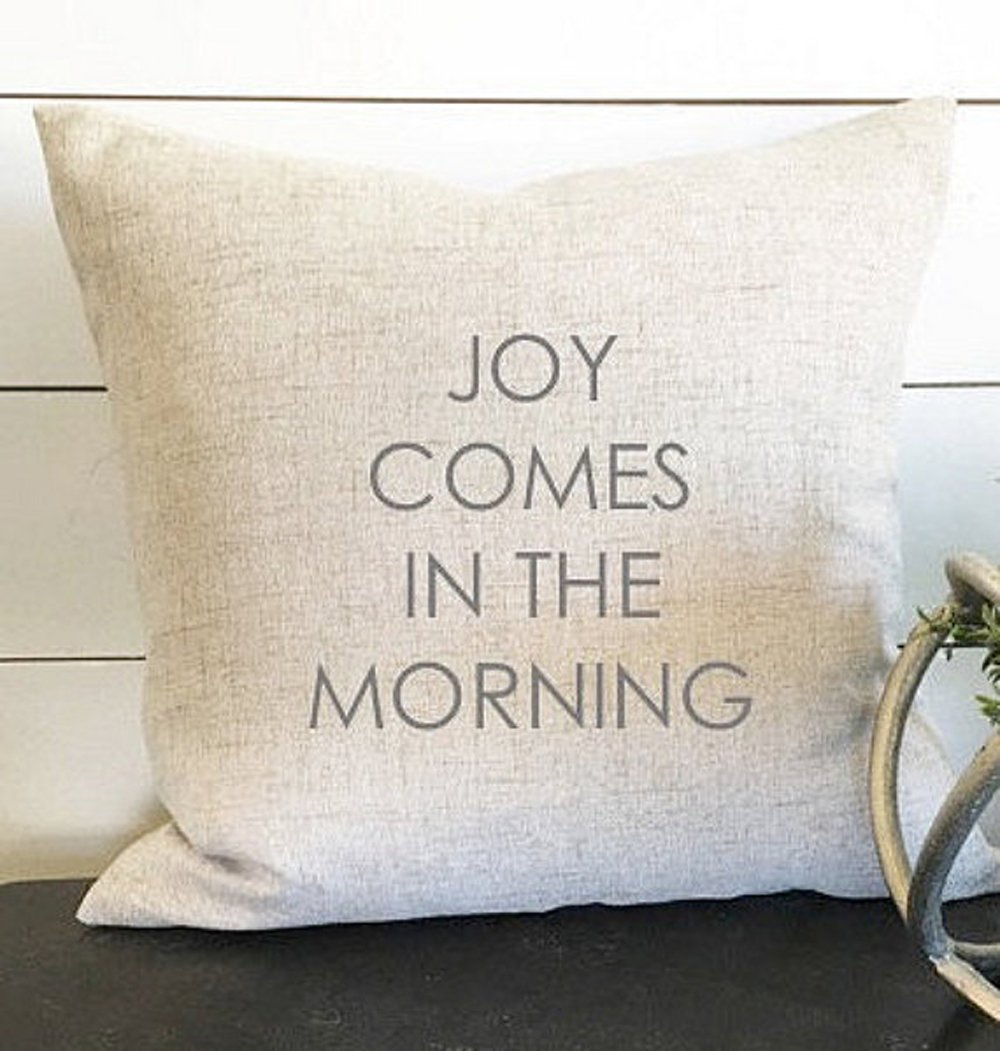 High quality Joy Comes in the Morning Pillow Cover, Pillow Decor, Throw Pillow, Gift, Home Decor Pillow, Linen Pillow Cover, Biblical Decor, Christian