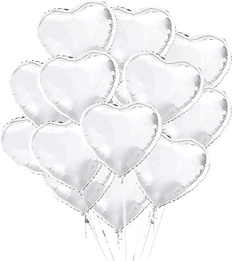 VegKey Heart Balloons Foil Balloons Mylar Balloons 50pcs 18Inch Heart Foil Balloons Kit for Wedding Graduation Birthday Engagement Party Decorations