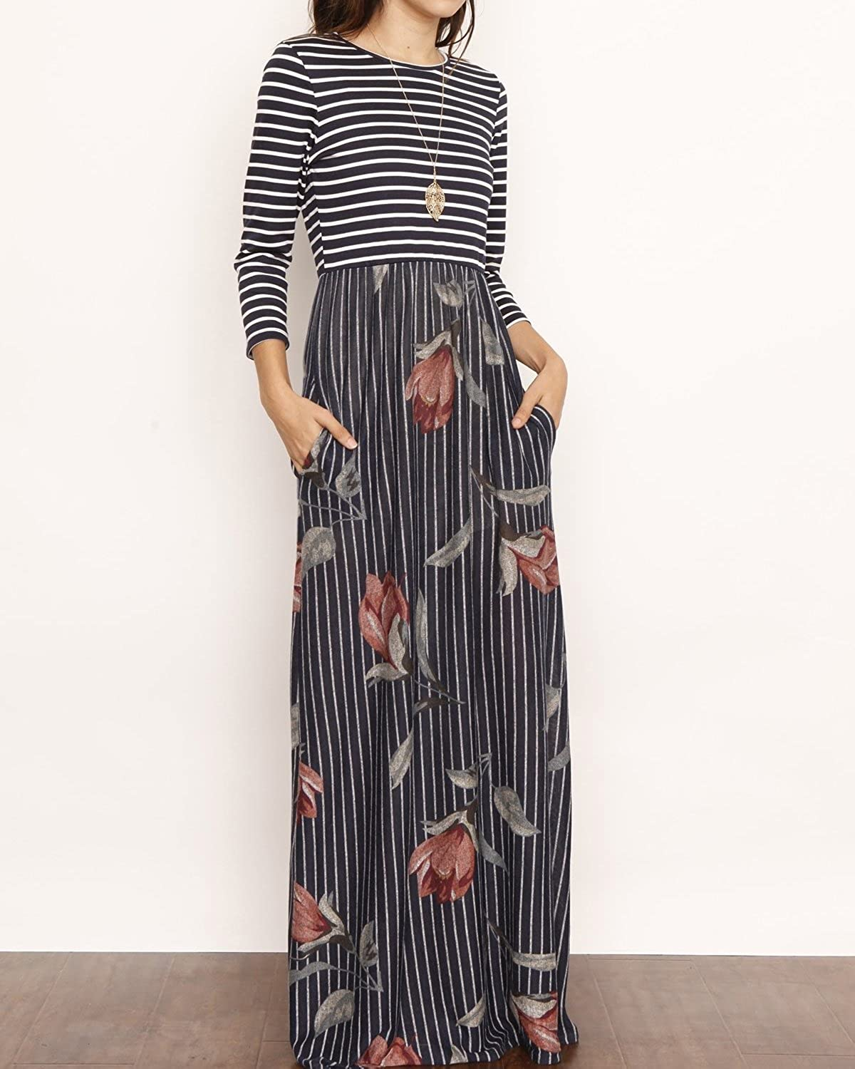 5b74ef89352 FISACE Womens Floral Tie Waist Striped Patchwork Maxi Dress 3 4 Sleeve Side  Pocket Long Dress at Amazon Women s Clothing store