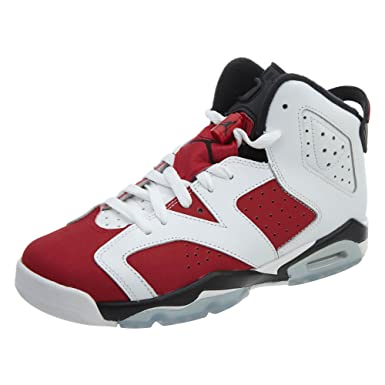 the latest 4c564 5b528 Air Jordan Retro 6 BG Big Kids Shoes White Carmine-Black 384665-160