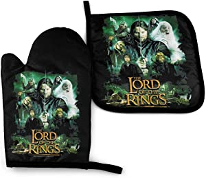 Sherrygeoffrey Lord of The Rings Oven Mitt and Pot Holder Set Heat Resistant Waterproof Household Kitchen Supplies