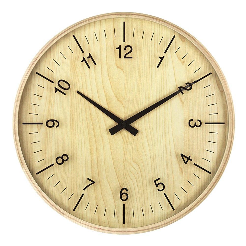 木の穀物の壁時計、居間のレストランベッドルームバーの壁時計花屋茶店ソリッドウッドの壁時計の直径30-35.5CM (色 : A-35.5*35.5*5cm) B07D2G9RS8A-35.5*35.5*5cm