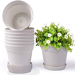 HOMENOTE Pots for Plants, 8 Pcs 7.5 inch Plastic Planters with Multiple Drainage Holes and Tray - Plant Pots for All Home Garden Flowers Succulents, Cream White