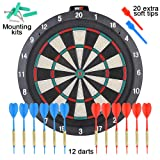 """ONE80 Soft tip Dartboard - 18"""" Safety Plastic Board with 12 Soft tip Darts and Extra 20 Soft Tips, mounting Kits Also Included"""