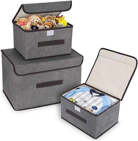 DIMJ Cajas Almacenaje con Tapa, Conjunto de 3 Caja Organizadora ...