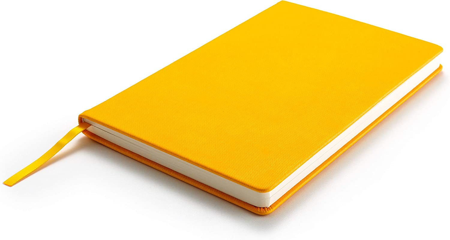 ZenZoi Yellow Hardcover Journal Notebook A5 Size with 160 Quality Pages and Gift Box. Practical Pocket Notepad-Journaling, Sketching, Travel Diary, Drafting, Note Writing Pad for Men, Women, Kids