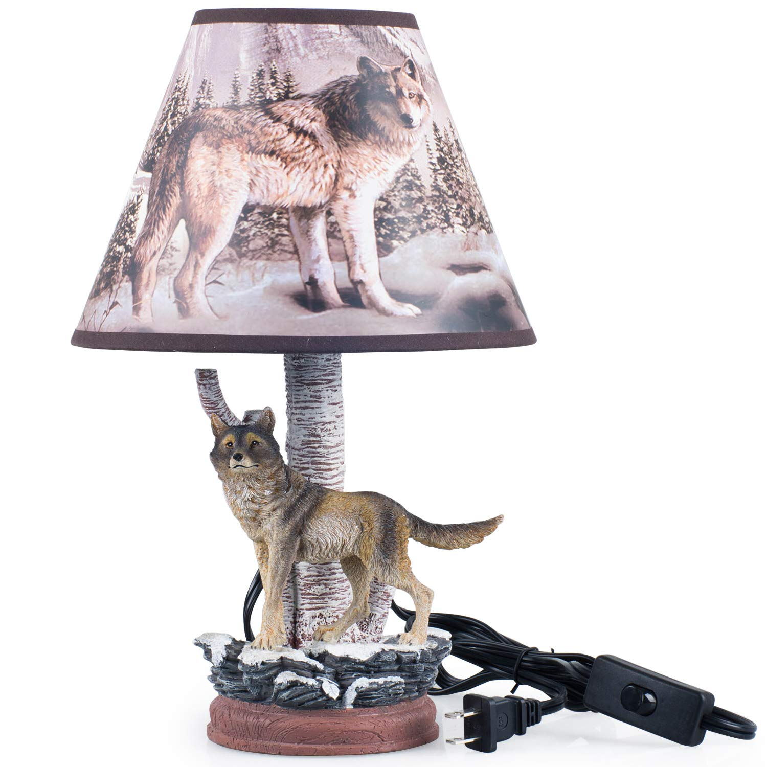Lamps for Bedrooms Kids, Nursery Wolf Thematic Hand Painted Non-Toxic, Lead Free Water-Based Paint