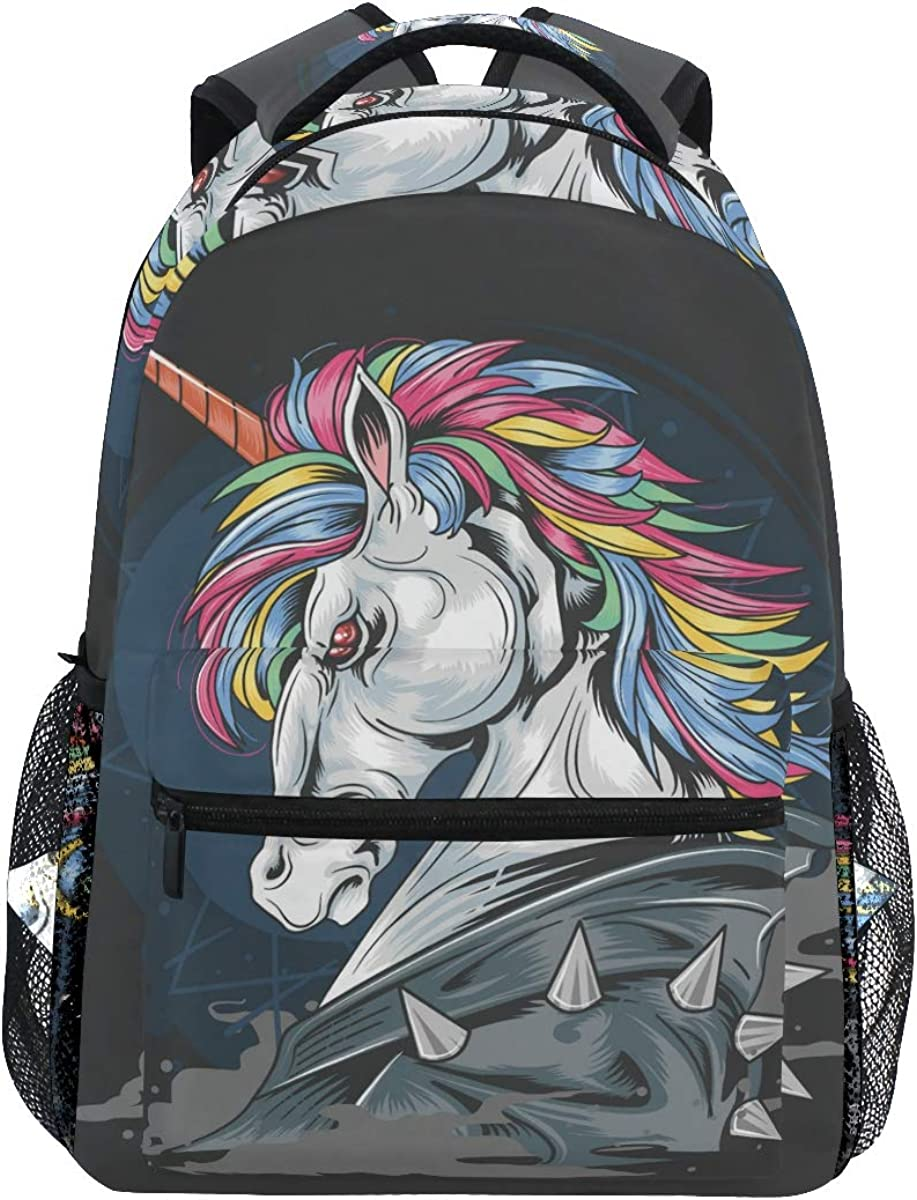 Laptop Backpack Boys Grils - Unicorn Punk Rock Jacket School Bookbags Computer Daypack for Travel Hiking Camping