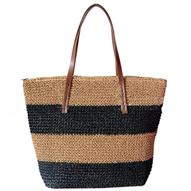 03cec004347d Amazon.com  Large Hobo Tote Bag Straw Stripes Summer Beach Bag for Women  Travel Shoulder Bag (Black stripes)  Clothing