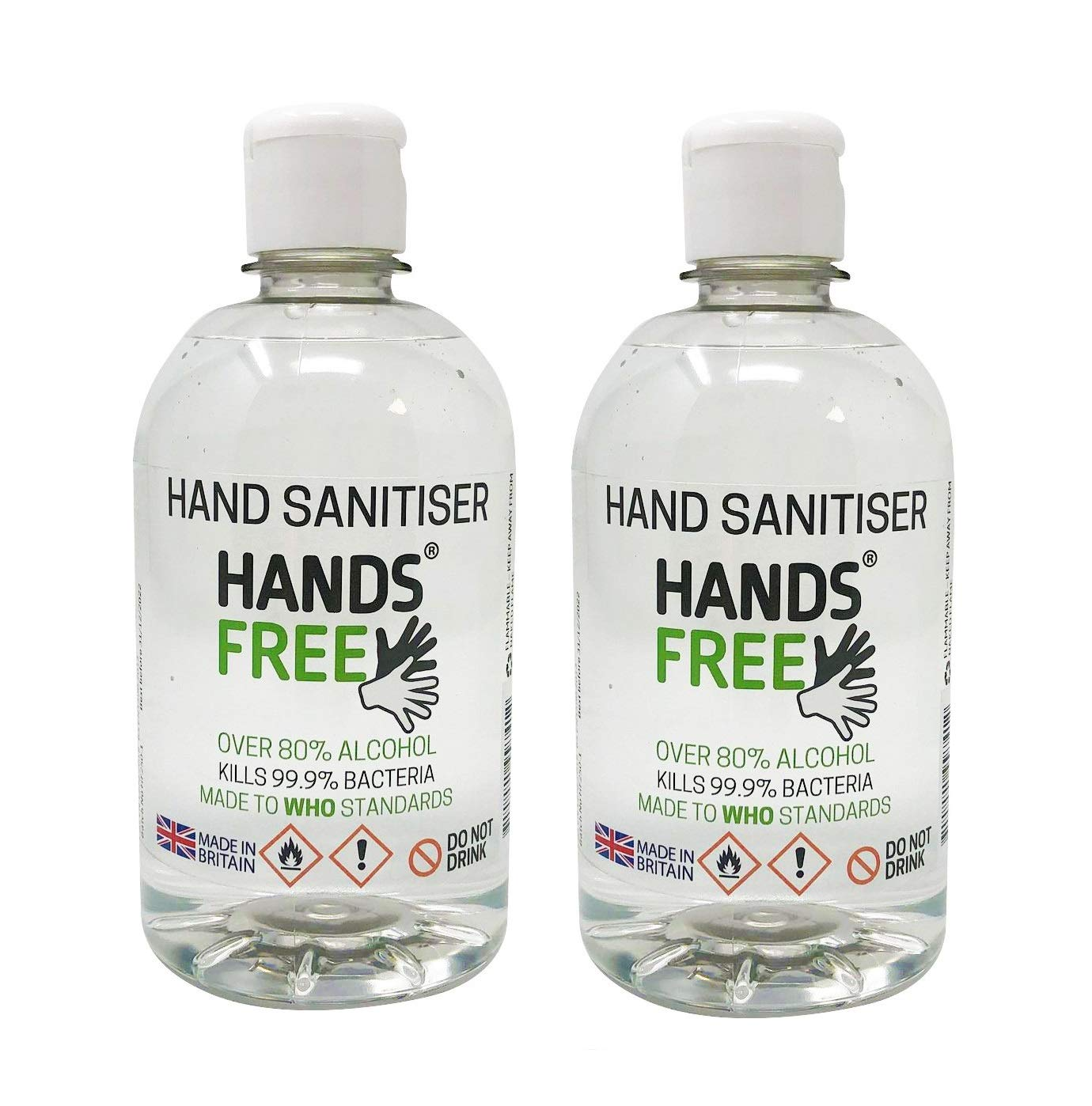 2x500ml 80% Alcohol Hand Sanitiser by Hands Free - Antibacterial Formula Kills 99.9% of Bacteria - MADE IN BRITAIN - (Multi Twin Pack)