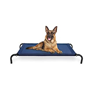 Furhaven Pet Dog Bed - Mold and Mildew Resistant Breathable Cooling Mesh Elevated Pet Cot Bed for Dogs and Cats, Deep Blue, Large