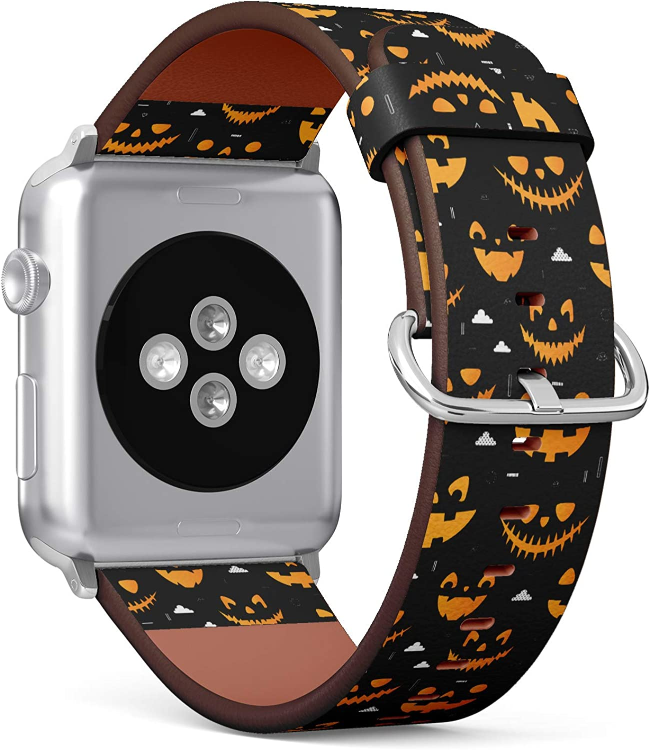 (Orange Halloween Pumpkins Carved Faces Silhouettes on Black Background) Patterned Leather Wristband Strap for Apple Watch Series 4/3/2/1 gen,Replacement for iWatch 42mm / 44mm Bands