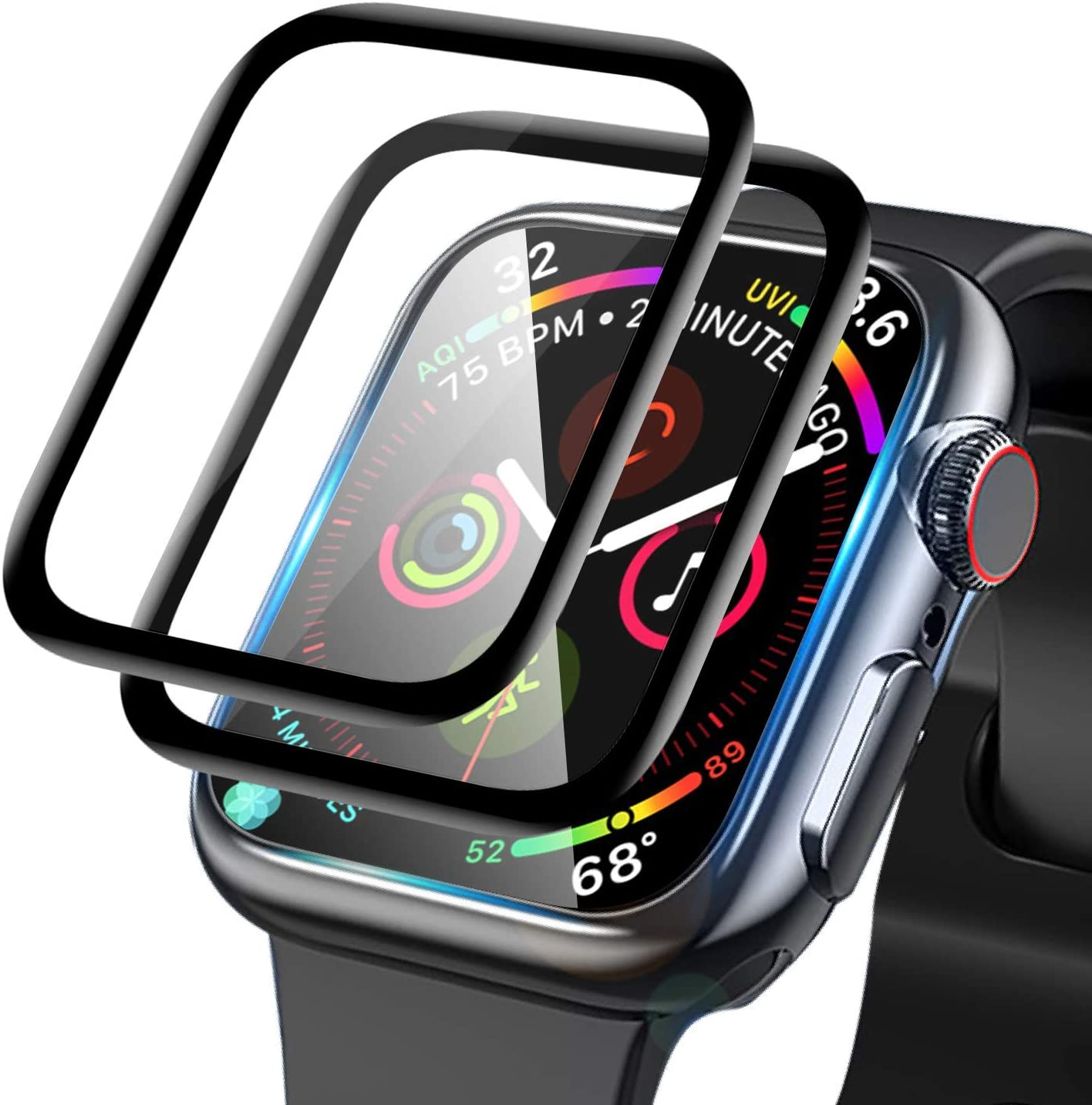 Apple Watch Screen Protector 44mm, Tempered Glass Full Coverage Scratch-Resistant Waterproof, Tempered Glass Film for Apple iWatch 44mm Series 4/5 (2 -Pcs)
