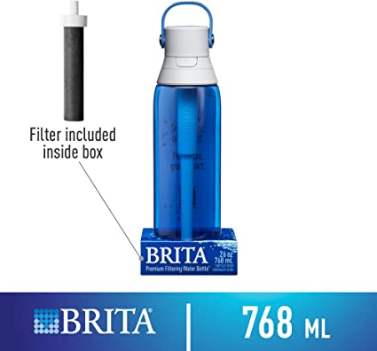 Brita 26 Ounce Premium Filtering Water Bottle with Filter Clear BPA Free