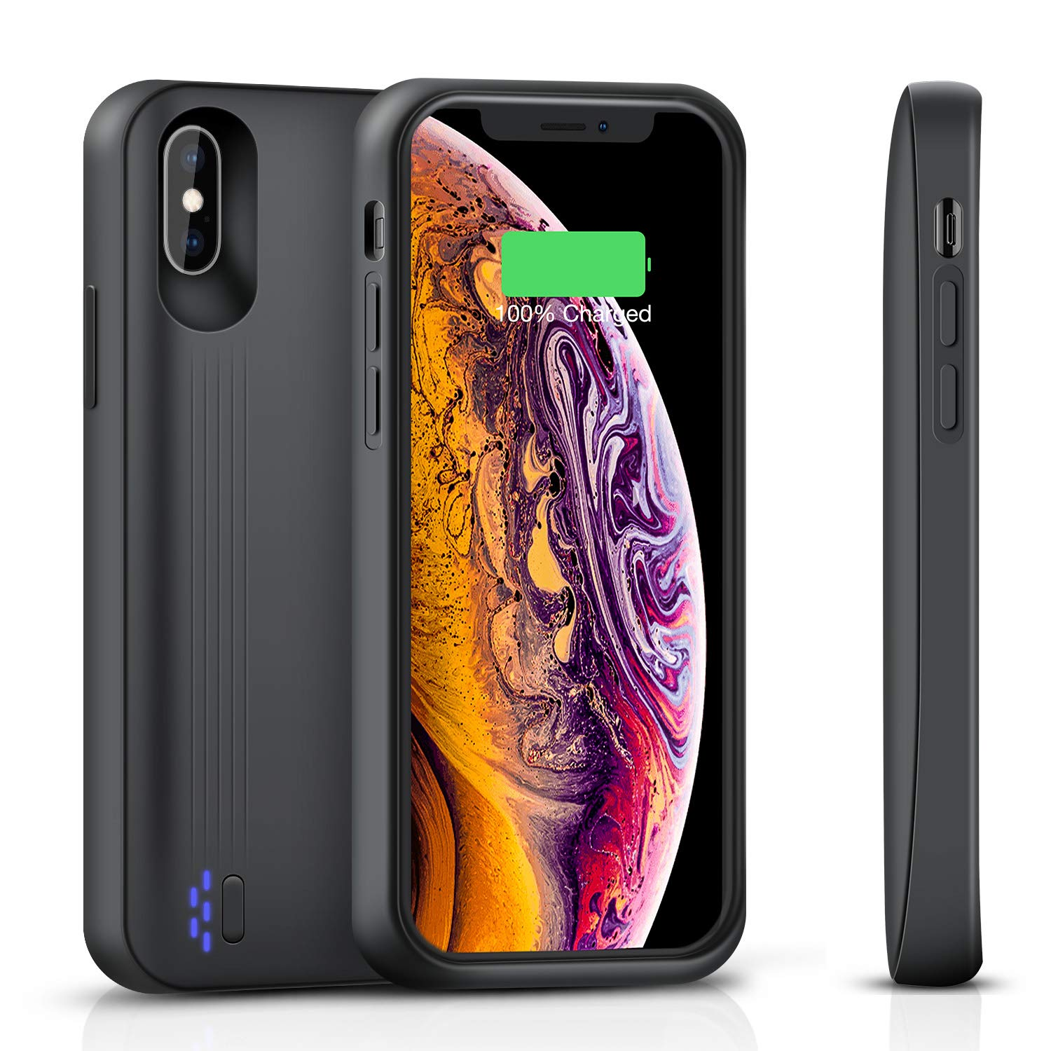 Snowpink iPhone X/XS Battery Case Support Headphones, 3900mAh Slim Portable Charger Case Rechargeable Extended Battery Pack Protective Charging Case Compatible iPhone X/XS(5.8 Inch)- Black