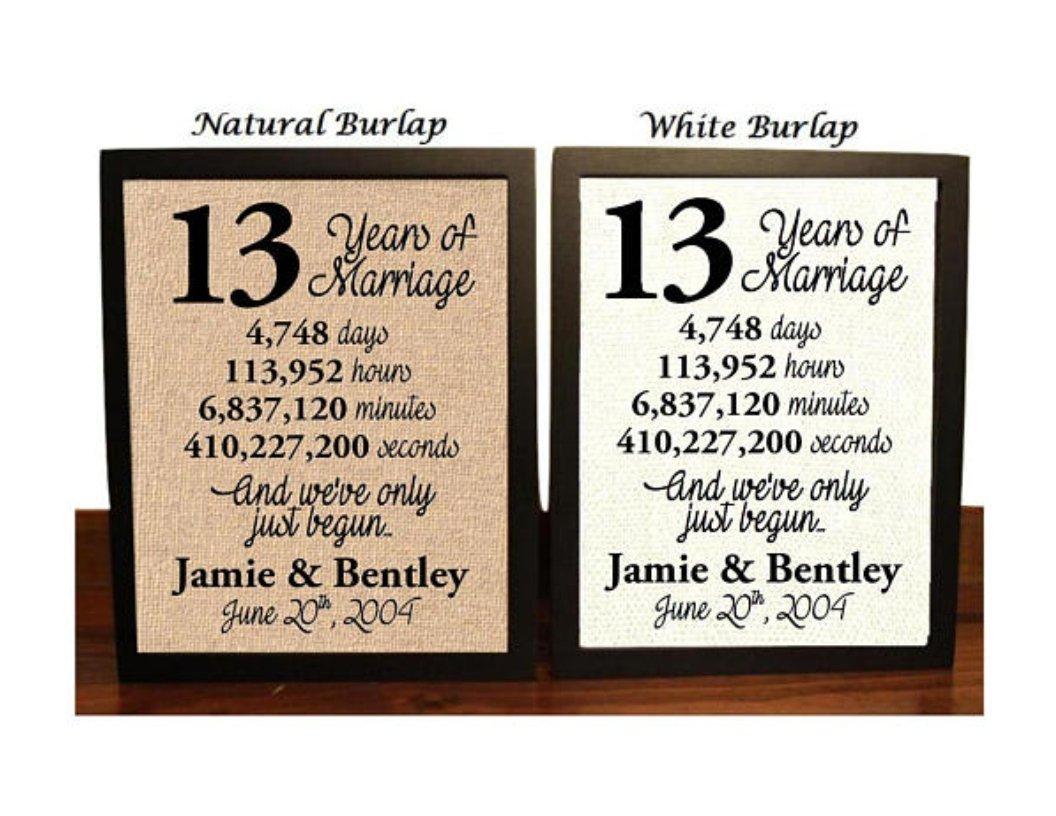 Amazon Com 13 Year Anniversary 13th Anniversary 13th Anniversary Gift 13 Years Together 13th Wedding Anniversary 13th Anniversary Gift For Her 13 Years Of Marriage Burlap Print Handmade