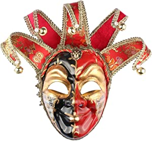 Black Red Venetian Music Jester Joker Mask Masquerade Halloween Party Bell Wall Decorative Art Collection Mask