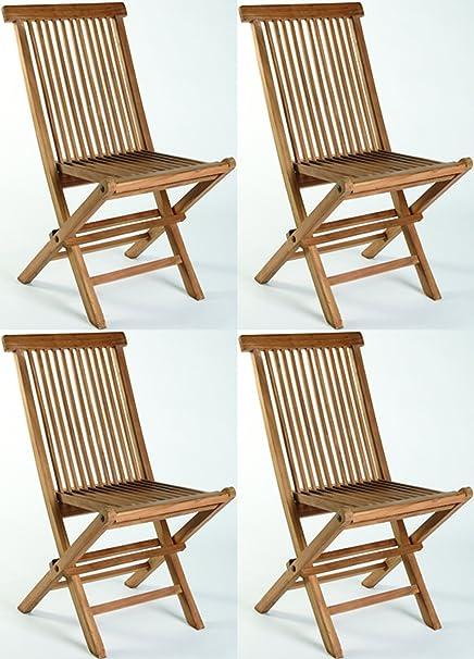 Juego de 4 sillas plegables teca Madera de Teca Jardín Madera Plegable Balcón nuevo