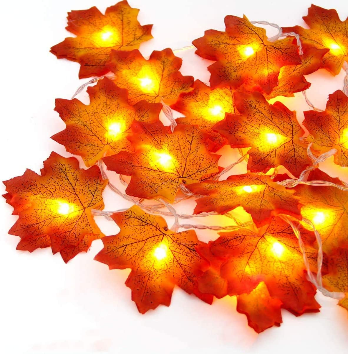 Fall Maple Leaves String Lights,13 Feet 40 LED Waterproof Maple Leaf Garland Lights,3AA Battery Powered Decorations Lights for Indoor Outdoor Autumn Harvest Thanksgiving Christmas Decor