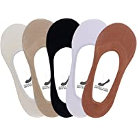 Supersox Women's Combed Cotton Anti Slip No Show Loafer Socks (Free Size) -Pack of 5