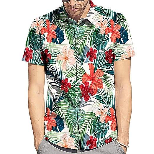 4444a959a Men's Hawaiian Shirts Flower Print Leaf Casual Summer Flower Button Down  Short Sleeve Shirt at Amazon Men's Clothing store: