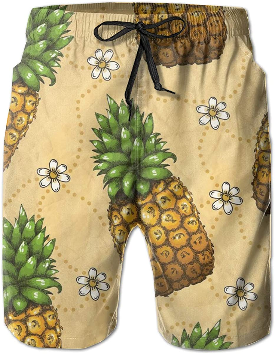 Comfortable Board Shorts with Pockets Yt92Pl@00 Mens 100/% Polyester Pineapple Pattern1 Beachwear