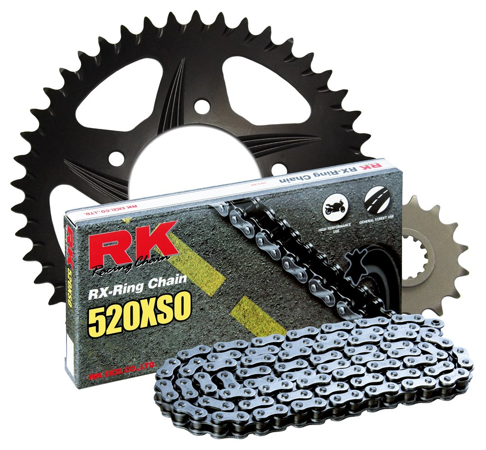 RK Racing Chain 4067-038RB Black Aluminum Rear Sprocket and 520XSO Chain 520 Race Conversion Kit