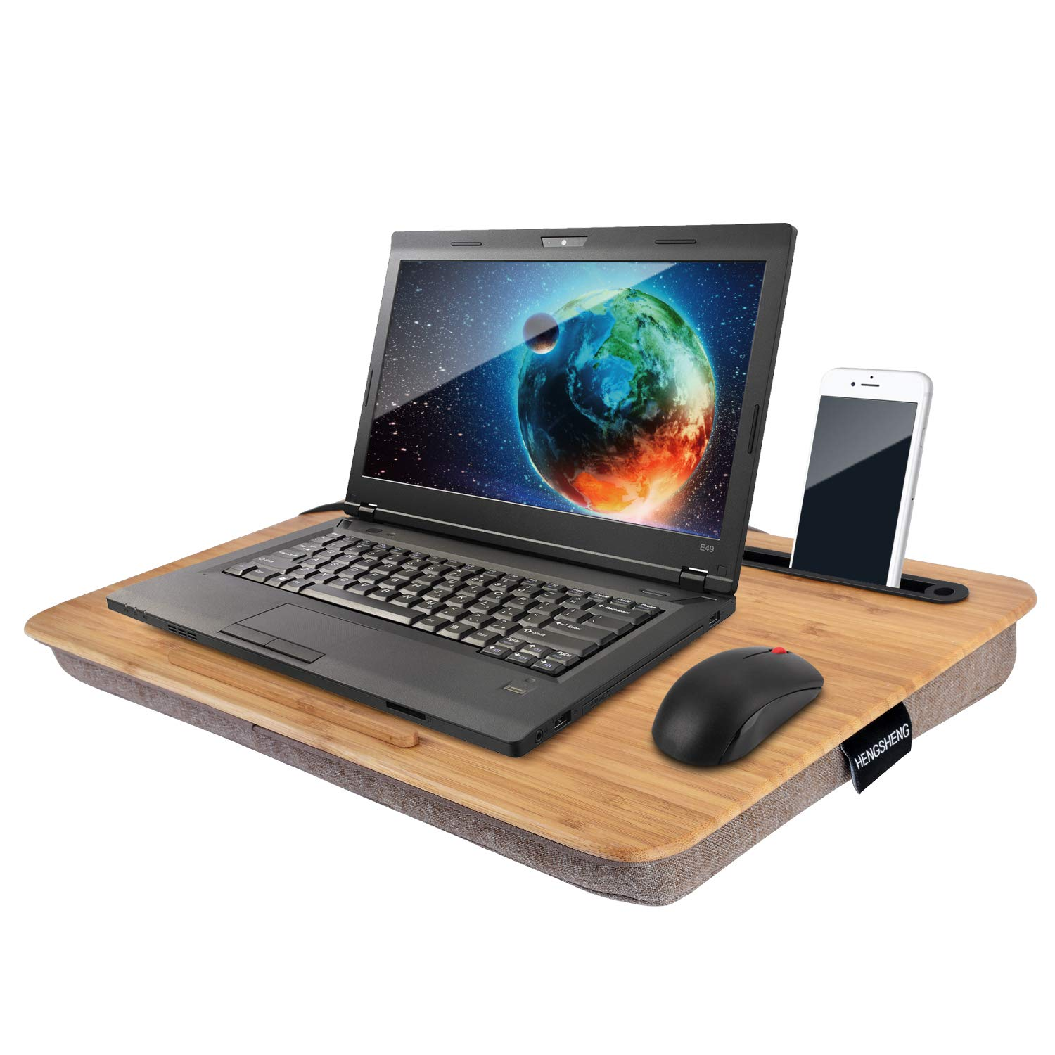 "Home Office Lap Desk-HENGSHENG Portable Bamboo Laptop Lap Desk Accessories (Fits up to 17.3"" Laptop)"