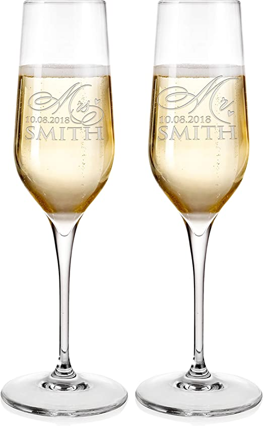 Personalised Custom Engraved Champagne Flute Glass Family Name Your Name