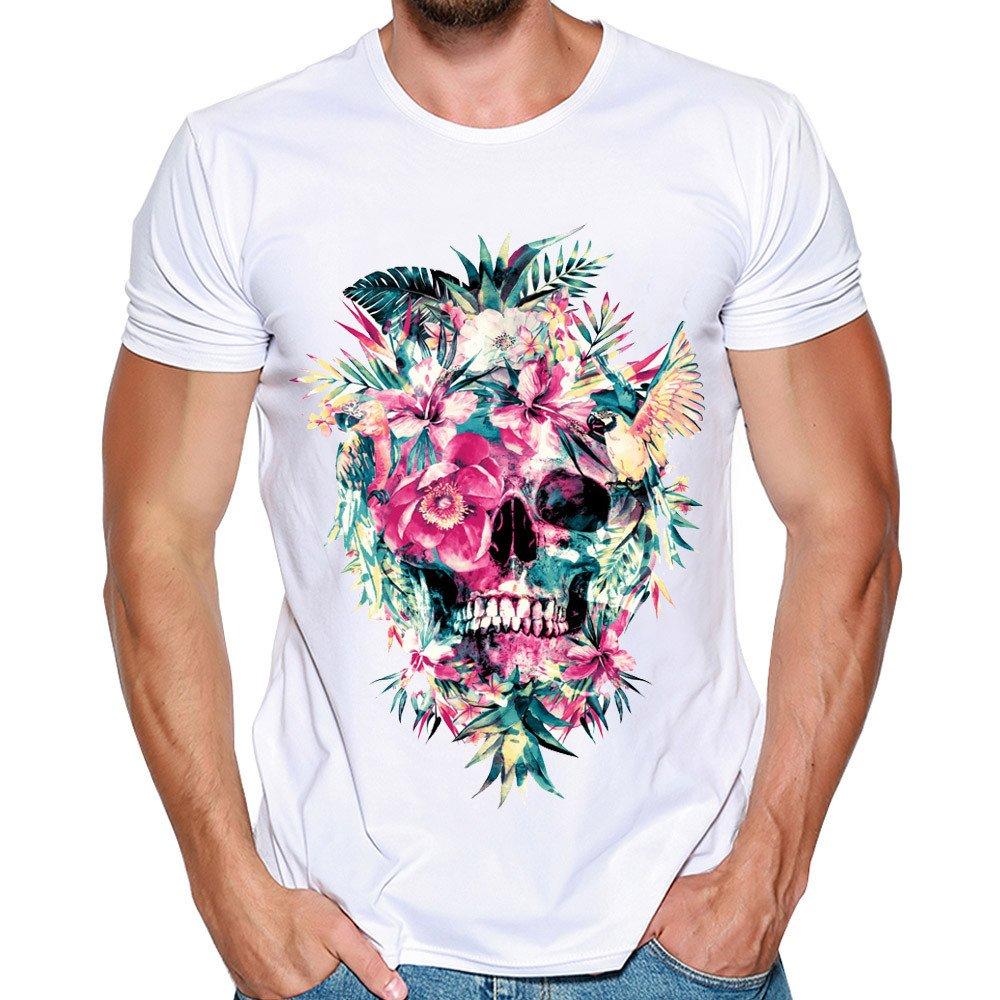Mens Short-Sleeved Shirt !Fan Shaped Hollow Collar Casual Slim T Shirt Top Blouse White