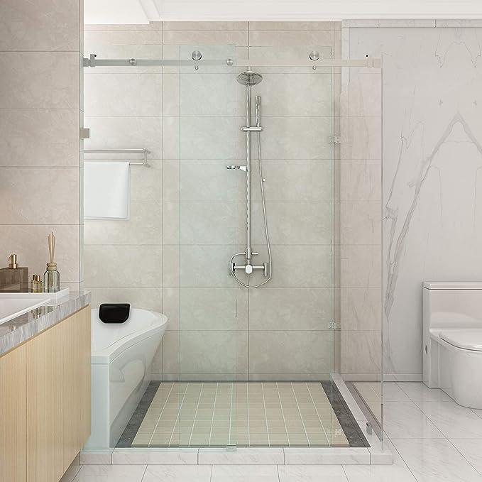 5 m/6.6ft sin marco ducha puerta corredera de cristal soporte de pista cepillado superficie granero ducha puerta Hardware: Amazon.es: Bricolaje y herramientas