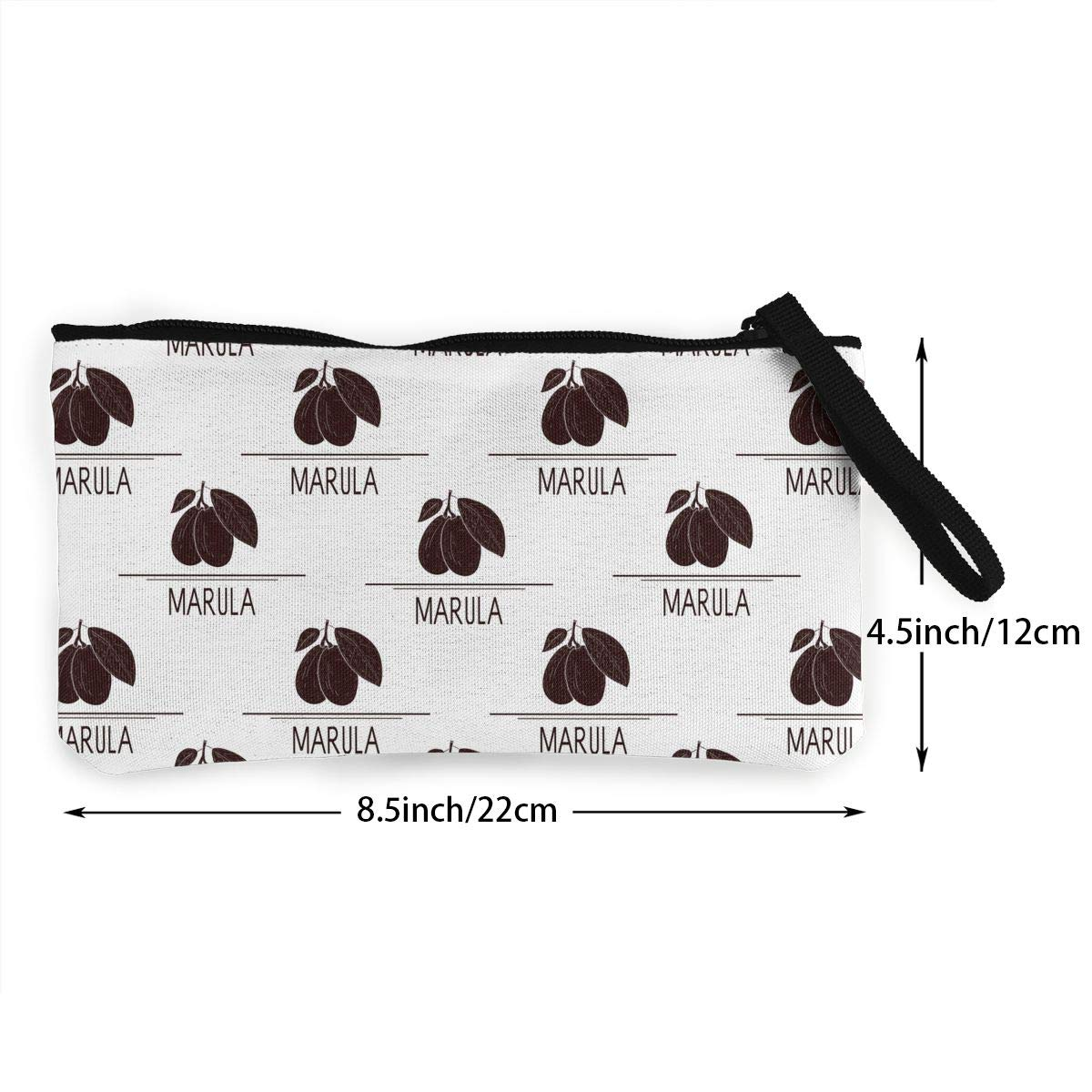 Womens Canvas Coin Wallet Cellphone Clutch Purse With Wrist Strap Marula Fruit Pattern Zipper Small Purse Wallets