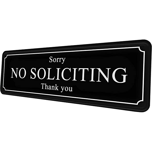 No Soliciting Sign Thank You Black//White
