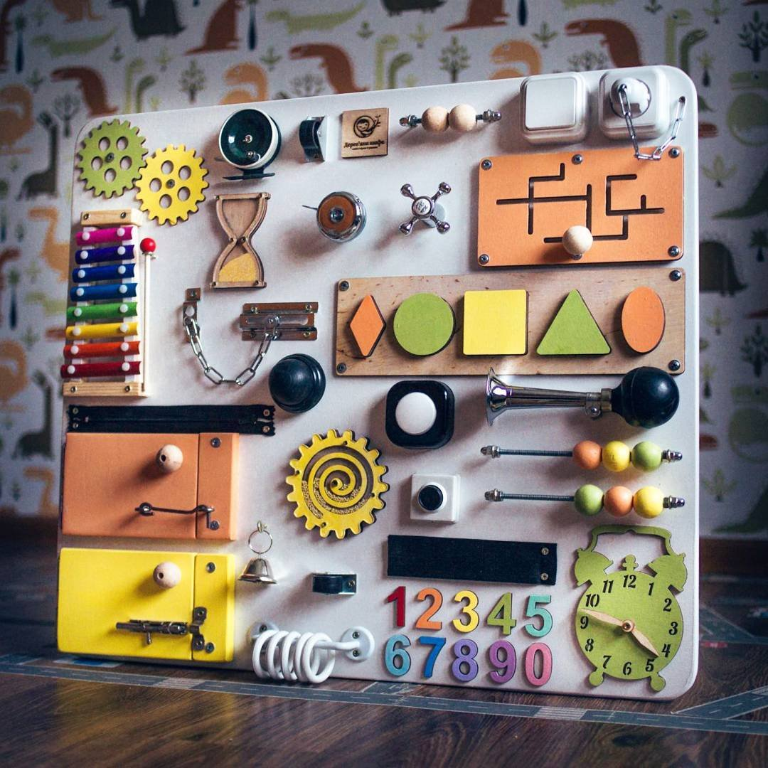 Shafa-11 European quality. Handmade Wooden Busy board, Clever Puzzles, Locks and Latches Activity Board (White + Orange + Yellow)