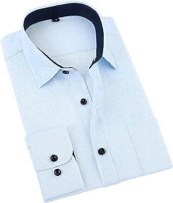 Jeetoo® Camisas Rayas Oblicuas de Hombre Manga Larga Slim Fit Camisa Lisa para Hombre: Amazon.es: Ropa y accesorios