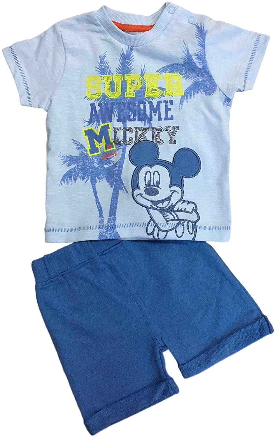 Baby Boys Disney Mickey Mouse 2PC Shorts T Shirt Outfit Set