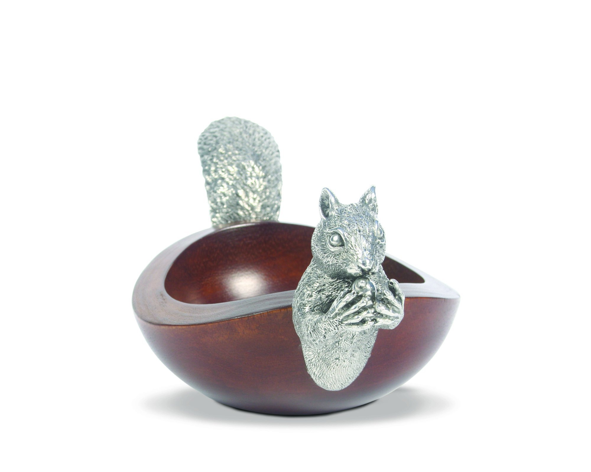 Vagabond House Pewter Metal Squirrel Head and Tail Wood Nut Bowl - 10'' Long