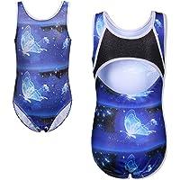 HUAANIUE Fille Justaucorps Gymnastique Bodysuit Danse Enfant Tank Leotard Motif Barbouillage Galaxie Papillon 3-14 Ans