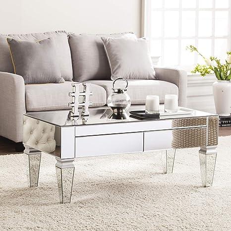 sei furniture darien contemporary mirrored rectangular coffee table rectangle silver