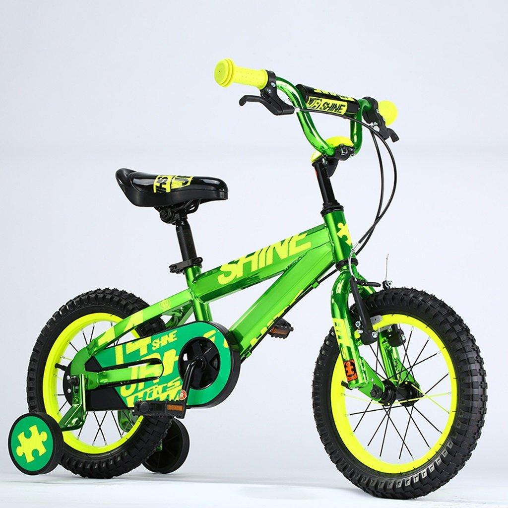 子供用自転車、4-8歳の男の子、女の子用自転車、高さ16インチ、105-135cm (Color : Green) B07D2G1ZB5